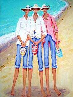 Rebecca Korpita ~ The Treasure Hunters ~ three sister friends collect seashells along the seashore.