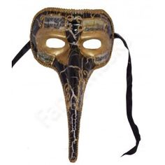 Long Nose Marbled Black Venetian Mask - Front View