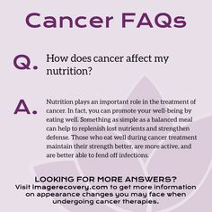 FAQ Friday: How does cancer affect my nutrition? *Make sure you check out our Tasty Tuesday posts for healthy recipe ideas! Image Recovery, Affect Me, Cancer Facts, Cancer Treatment, Peace Of Mind, Eating Well, Recipe Ideas, Tuesday, Healing