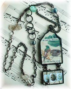 Soldered Pendant Necklace-Birds by trashtotreasureart Soldering Jewelry, Resin Jewelry, Glass Jewelry, Beaded Jewelry, Bead Crafts, Jewelry Crafts, Jewelry Art, Jewelry Design, Jewelry Ideas