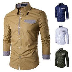 Fashion Patchwork Slim Band Collar Designer Shirts for Men is designer and cheap on Newchic. Buy Suits, Stylish Shirts, Latest Fashion Trends, Shirt Style, Long Sleeve Shirts, Shirt Designs, Slim, Casual, Sleeves