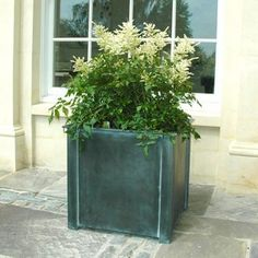 Garden Planters in zinc galvanized steel. High quality bespoke steel planters in square and trough designs. Large, heavy duty planters for exterior use. Large Garden Planters, Backyard Planters, Galvanized Planters, Stone Planters, Square Planters, Garden Plants, Galvanized Steel, Over Door Canopy, Door Canopy Porch