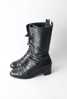 Vintage black heeled mid height lace up #boots by #ZvezdanaVintage, $68.00