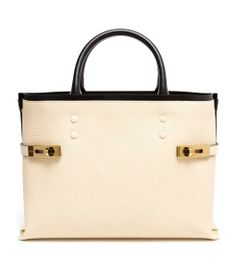 Cream grained leather tote bag