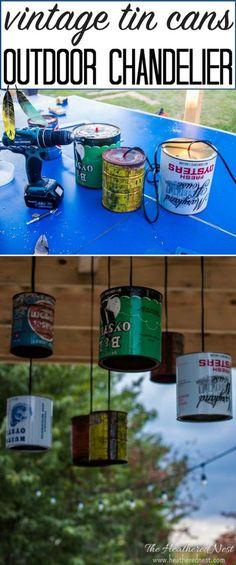 Popular DIY outdoor chandelier (or indoor) DIY lighting project. Tutorial from heatherednest.com