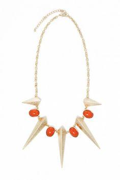 Plus Size Either Orange Spike Bib Necklace