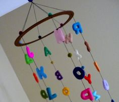 Cherry Blossoms and Bird Mobile Bird Mobile, Hanging Mobile, Hang From Ceiling Decor, Mobiles, Alphabet Display, Elephant Mobile, Felt Letters, Alphabet Letters, Modern Nursery Decor