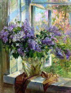 Ivanova Lilac on background colors Lilac Painting, Oil Painting Flowers, Watercolor Flowers, Watercolor Paintings, Pretty Pictures, Art Pictures, Russian Painting, Acrylic Flowers, Window Art