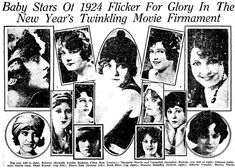 Wampas Baby Stars of 1924 Top row, left to right: Dorothy Mackaill, Lucille Ricksen, Clara Bow (largest shot in center), Margaret Morris and Carmelita Geraghty.  Bottom row, left to right: Julanne Johnston, Gloria Grey, Hazel Keener (top, left of Bow), Elinor Fair (bottom, left of Bow), Ruth Hiatt (top, right of Bow), Blanche Mehaffey (bottom, left of Bow), Alberta Vaughan, Marion Nixon.