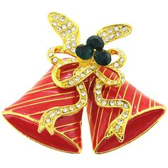 Fashion Jewelry Knowledgeable Christmas Brooches Sleigh Bell Crystal Gold-color Double Bells Brooches Fashion Christmas Bows Multicolor Brooches