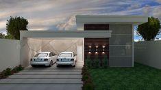 Casa C015: Projeto de casa com 3 quartos, sendo 1 suíte, 2 banheiros e 2 vagas na garagem. Fachada imponente e moderna, de traços retos.