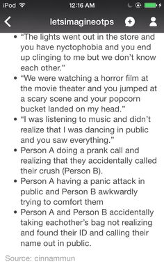 Imagine The OTP: Nyctophobia; Horror Film; Dancing In Public; Accidentally Prank Calling Crush; Panic Attack In Public; Mistaken Bag Edition
