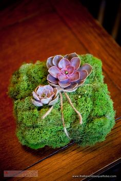 Awesome Ring Pillow! | Moss and Purple Succulent Wedding Detail - The French Bouquet - Ace ...