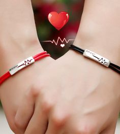 Heartbeat Tag Red Black Leather Bracelets