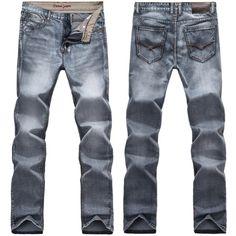 Para hombre retro delgado pantalones de mezclilla ajuste de los pantalones vaqueros flacos de la vendimia rectas