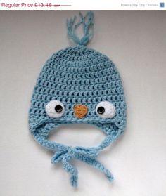 Baby crochet hat-Newborn baby beanie-Boy bird hat-Warm baby beanie-Blue bird animal hat-Photo prop-Baby shower