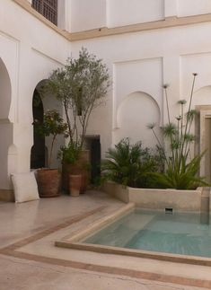 Courtyard and splashpool. Oliver van Reeth's riad - traditional Moroccan home with an interior courtyard or garden - in Marrakech