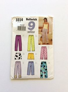 c2feddfe16 Butterick 3314 Women s Camisole Top Pajama Pants and Camisole Top