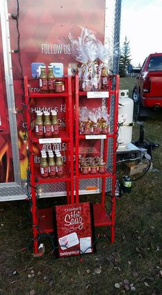 Food truck/food trailer display for sauces - IKEA shelves!
