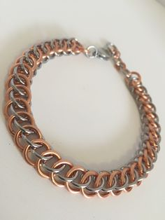 Mens Solid Copper Steel Bracelet, Heavy Chainmaille, Mans Chain Link Jewelry, Gents Male Mixed Metal Chain Mail, For Him Men Dads Guys Gift, by JCLeecollection on Etsy