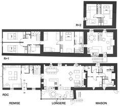Longère rénovée à Plouezoc'h Plane, Construction, Home Staging, Dom, New Homes, Floor Plans, Farmhouse, How To Plan, Architecture