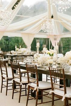 My Dream Wedding Tent! chandelliers, white folors and candles, wooden chairs, long tables, white drapes with clear tent. Tent Wedding, Wedding Receptions, Wedding Table, Our Wedding, Dream Wedding, Wedding Blog, Summer Wedding, Wedding Pins, Marquee Wedding