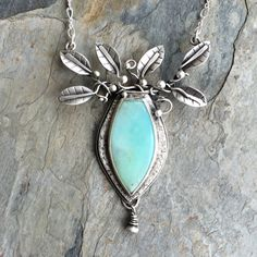 Peruvian Blue Opal Necklace in Fine Silver. Designer Cabochon Jewelry for Charity.