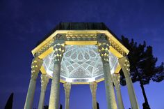 The Tomb of Hafez and its associated memorial hall, the Hāfezieh, are two memorial structures erected in the northern edge of Shiraz, Iran, in memory of the celebrated Persian poet Hafez.