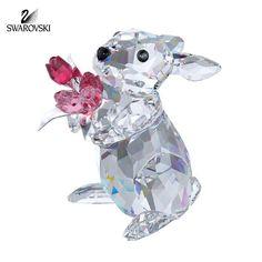Swarovski Crystal Figurine RABBIT WITH TULIPS #1177251 New