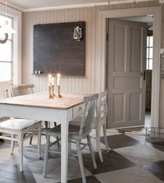 I love the painted floor, Country Interior Scandinavia Painted Kitchen Floors, Country Kitchen Flooring, Painted Floors, Painted Floorboards, Floors Kitchen, Painted Wood, Urban Cottage, Cottage Living, Style Deco