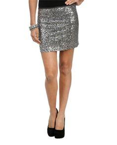 Gray Sequin Mini Skirt - Bottoms