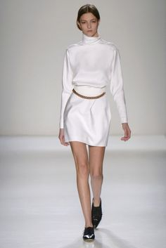 A model walks the runway at the Victoria Beckham fashion show during New York Fashion Week on Feb. 9, 2014.