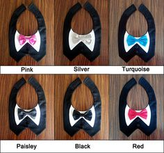 BEAUTIFUL!!! Here are some of the different bow colors to choose from when ordering a tuxedo vest. Perfect for dpgs who aren't used to wearing clothes or who typically don't like to wear clothes.  Custom bow ties to match your wedding, too! http://www.etsy.com/listing/165409492  (dog clothes, dog tuxedo, tuxedo vest, tuxedo bib, wedding clothes, pet clothes, pet wedding attire, dog wedding attire, dog formal wear)