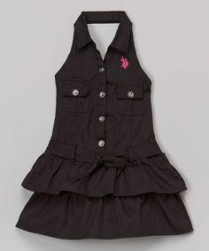 Look at this #zulilyfind! Black Button Halter Dress - Girls by U.S. Polo Assn. #zulilyfinds