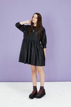 Fake Leather Smock Dress