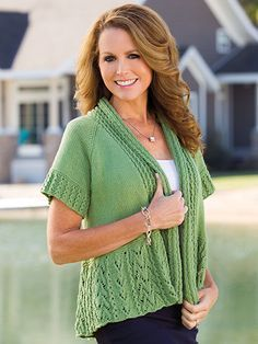 Short Sleeve Sweater in Green Knitting pattern for spring Creative Knitting Spring 2016