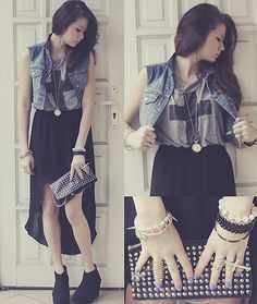 Cross Shirt, Denim Vest, High Low Skirt. Kelly. This is what we have to wear in LA.