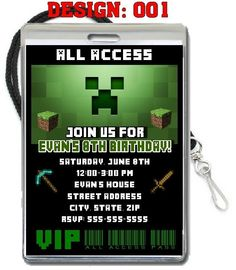 MINECRAFT VIP PASS BIRTHDAY PARTY INVITATIONS PARTY FAVORS LANYARDS SUPPLIES