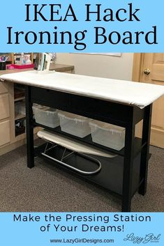 How to Make the Ironing Board of Your Dreams! Make your dream ironing board and pressing station with this easy IKEA hack. Step by step photos and video tour. Large pressing surface with added storage shelves and drawers. Great for sewing organization. Sewing Patterns Free, Free Sewing, Purse Patterns, Iron Board, Sewing Hacks, Sewing Tips, Sewing Tutorials, Bag Tutorials, Sewing Ideas