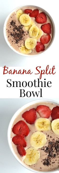 Banana Split Smoothie Bowl This Banana Split Smoothie Bowl tastes like your favorite dessert but is much healthier! It has banana strawberries and chocolate to make it just like a banana split!nutritionistr Source by hickmancounty Smoothies Banane, Smoothie Fruit, Smoothie Recipes, Nutribullet Recipes, Smoothie Cleanse, Juice Cleanse, Best Breakfast Smoothies, Breakfast Bowls, Healthy Smoothies