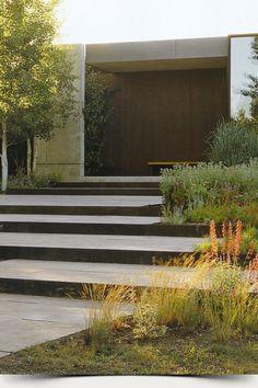 Garden Design Ideas : Stone steps with corten edge – Ron Lutsko Landscape Stairs, Landscape Plans, Garden Landscape Design, Garden Stairs, Terrace Garden, Modern Landscaping, Garden Landscaping, Landscaping Ideas, Outdoor Steps