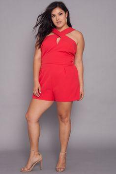 13821b1aeeae2 Curvy Sense Plus Size Romper For Juniors Trendy Plus Size Clothing
