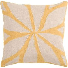 Yellow and Ivory 18 x 18 Wool Pillow w/ Down Fill - (In Down Fill (pillows))