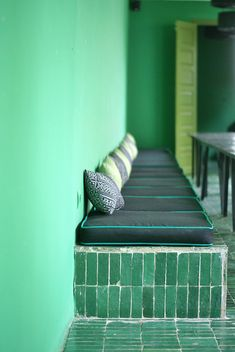 Oh green....green Moroccan glazed bejmat tiles, green walls, black embroidery of Fez cushions. #design Moroccan design