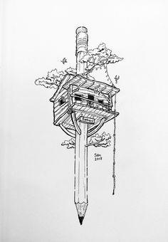 Tree House House Illustration, Landscape Illustration, Landscape Pencil Drawings, Art Drawings, Tree House Drawing, Ink Link, Nature Drawing, Inspirational Artwork, Pen Art