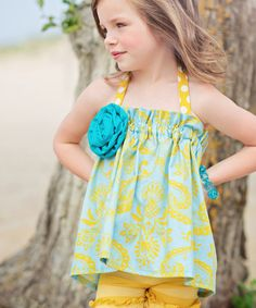 Loving this Turquoise Scroll Posie Top - Toddler & Girls on #zulily! #zulilyfinds