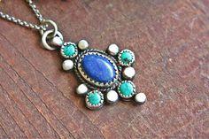 Turquoise Lapis Lazuli Pendant Sterling Silver by ManariDesign, $134.00