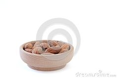Almonds on isolated white background.