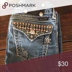 Miss Me Boot Cut Jeans The jeans are in excellent condition. I started a job where the dress code is business casual and I don't really have a reason to wear these. They are super cute with cowboy boots underneath or even paired with converse. Miss Me Jeans Boot Cut