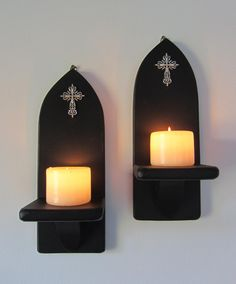 Pair of Church Gothic matte black wall sconce led candle | Etsy